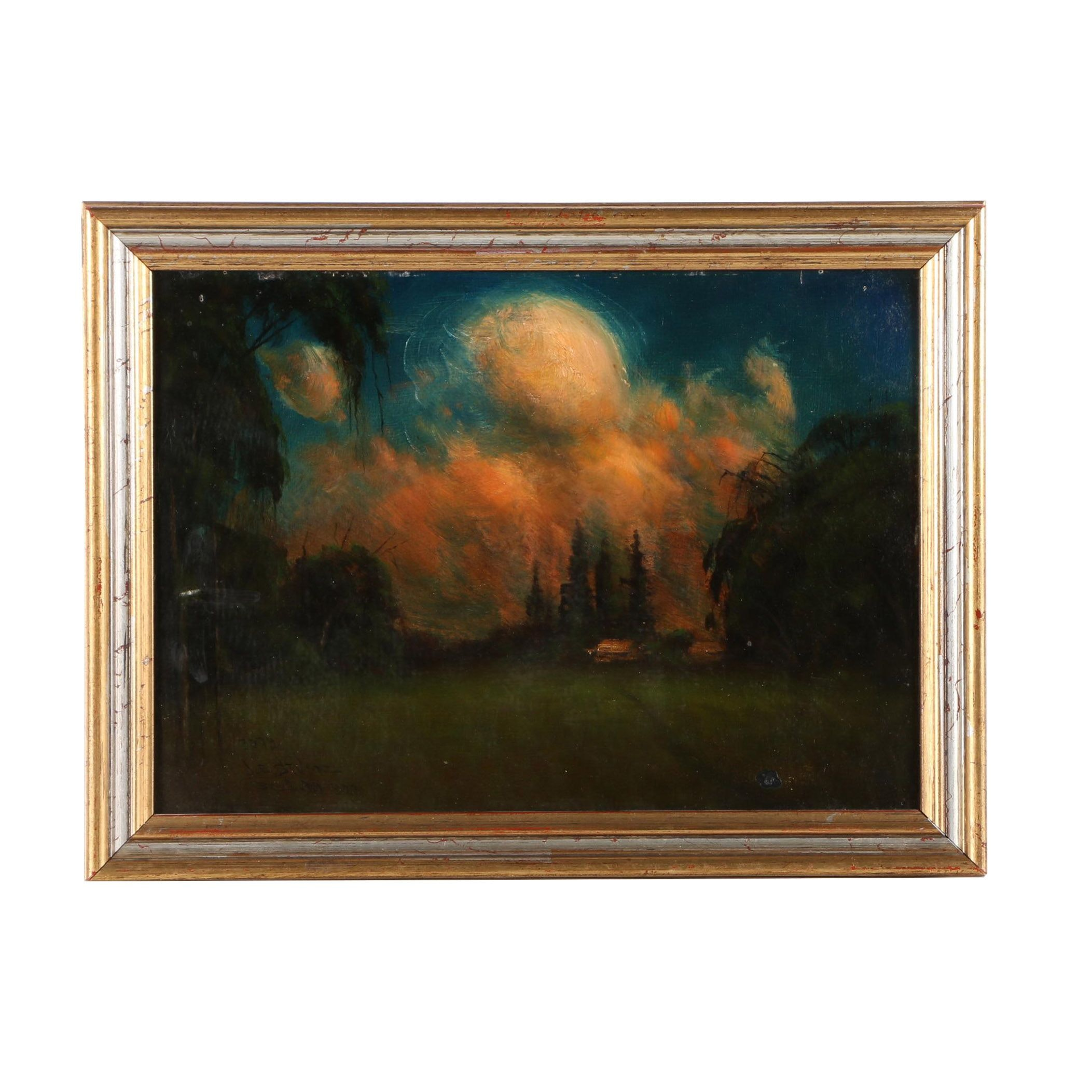 1923 James Everett Stuart Oil on Board of Landscape Near San Jose