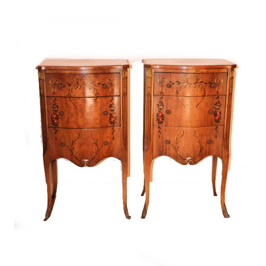 Pair of Vintage French-Inspired Tole Painted Nightstands