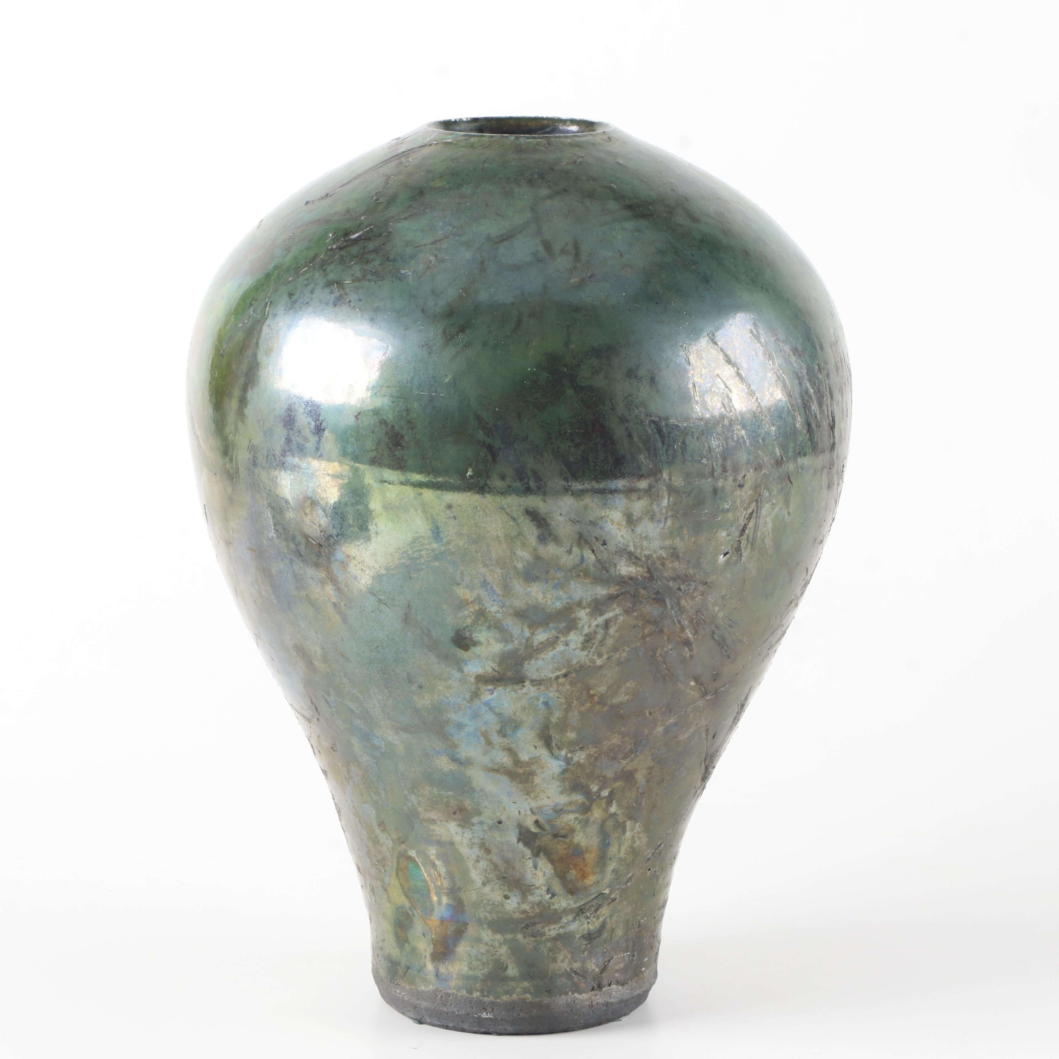 Metallic Green Raku Fired Thrown Stoneware Vase