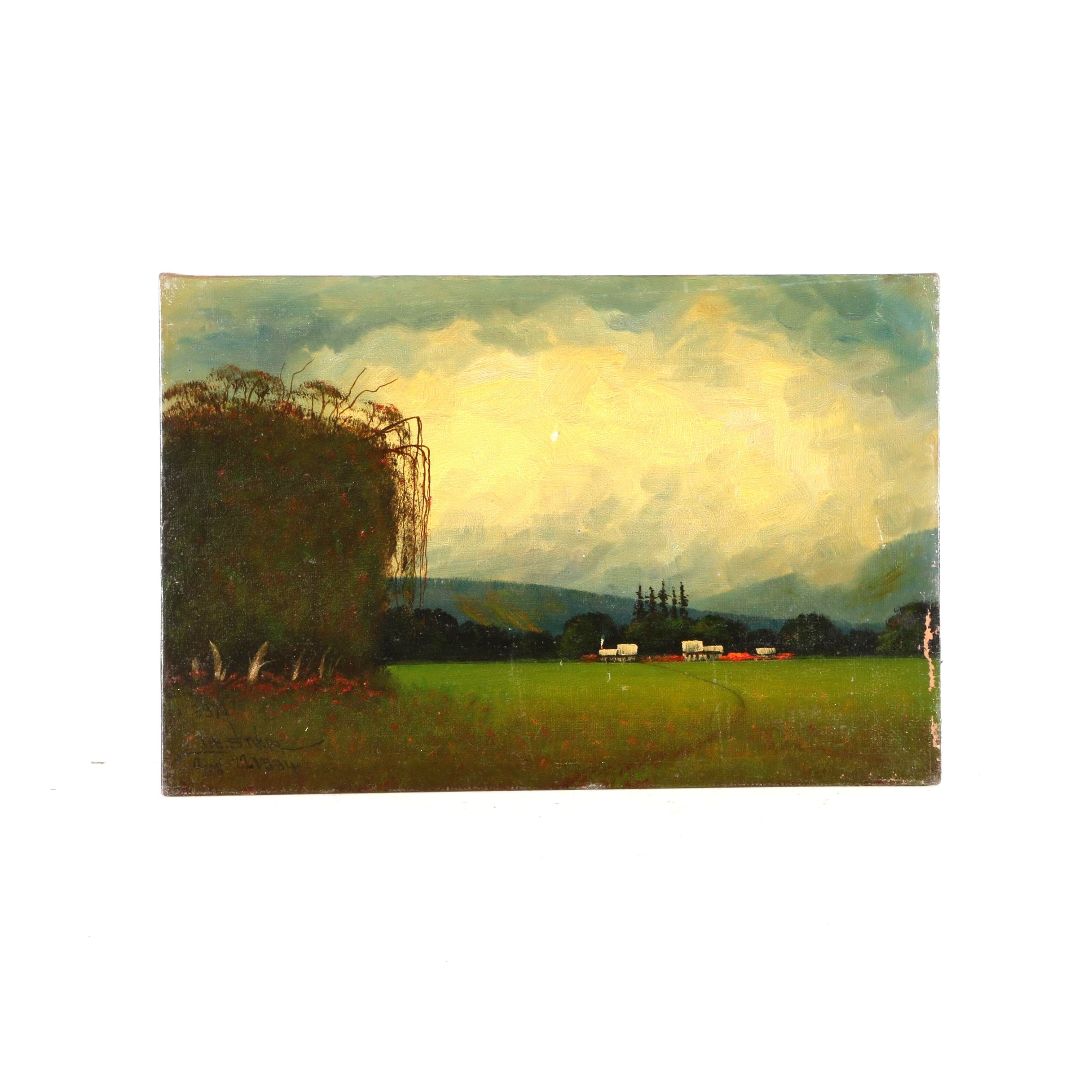 1934 James Everett Stuart Oil on Board of Landscape Near Modesto, CA