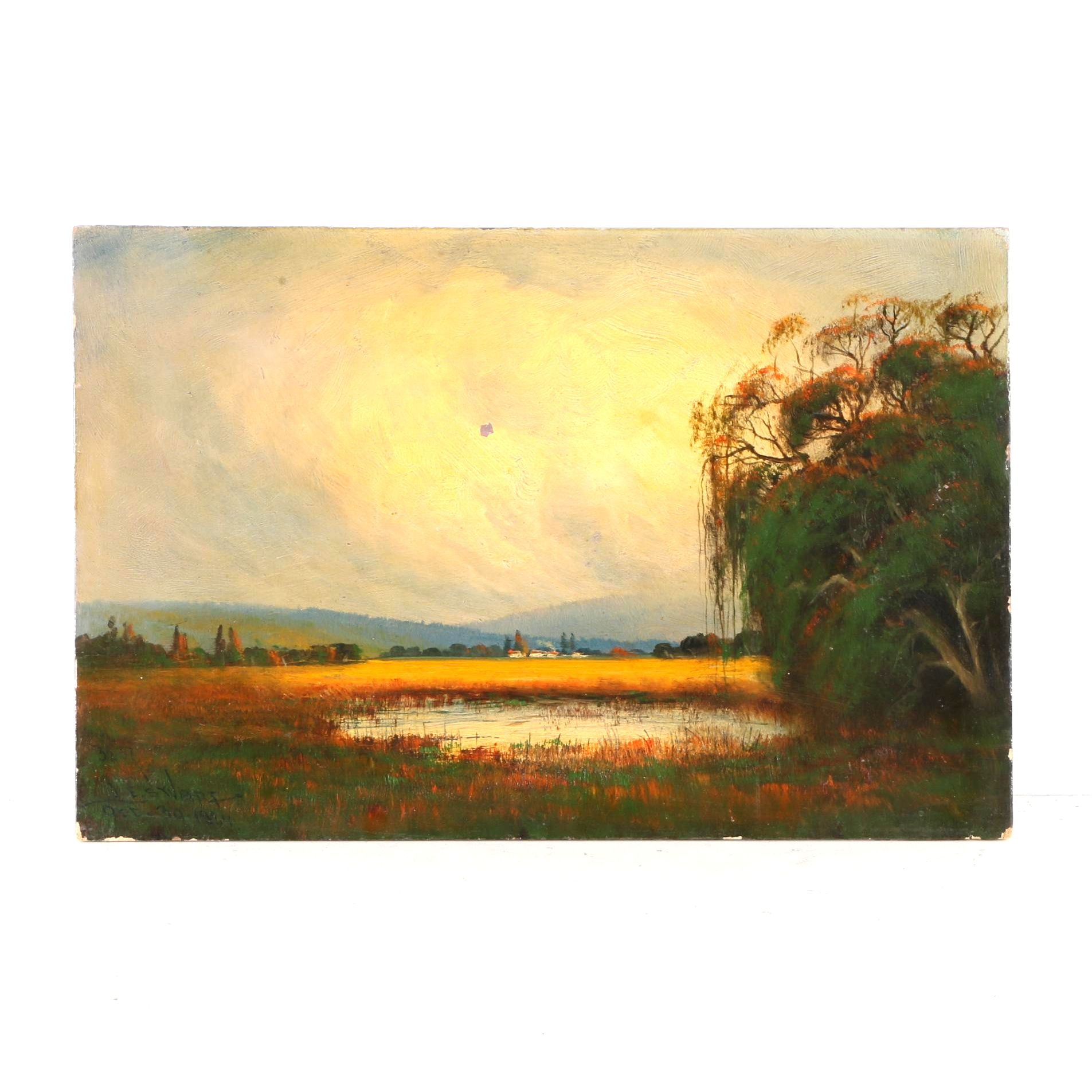 1924 James Everett Stuart Oil on Board of Landscape Near Watsonville, CA