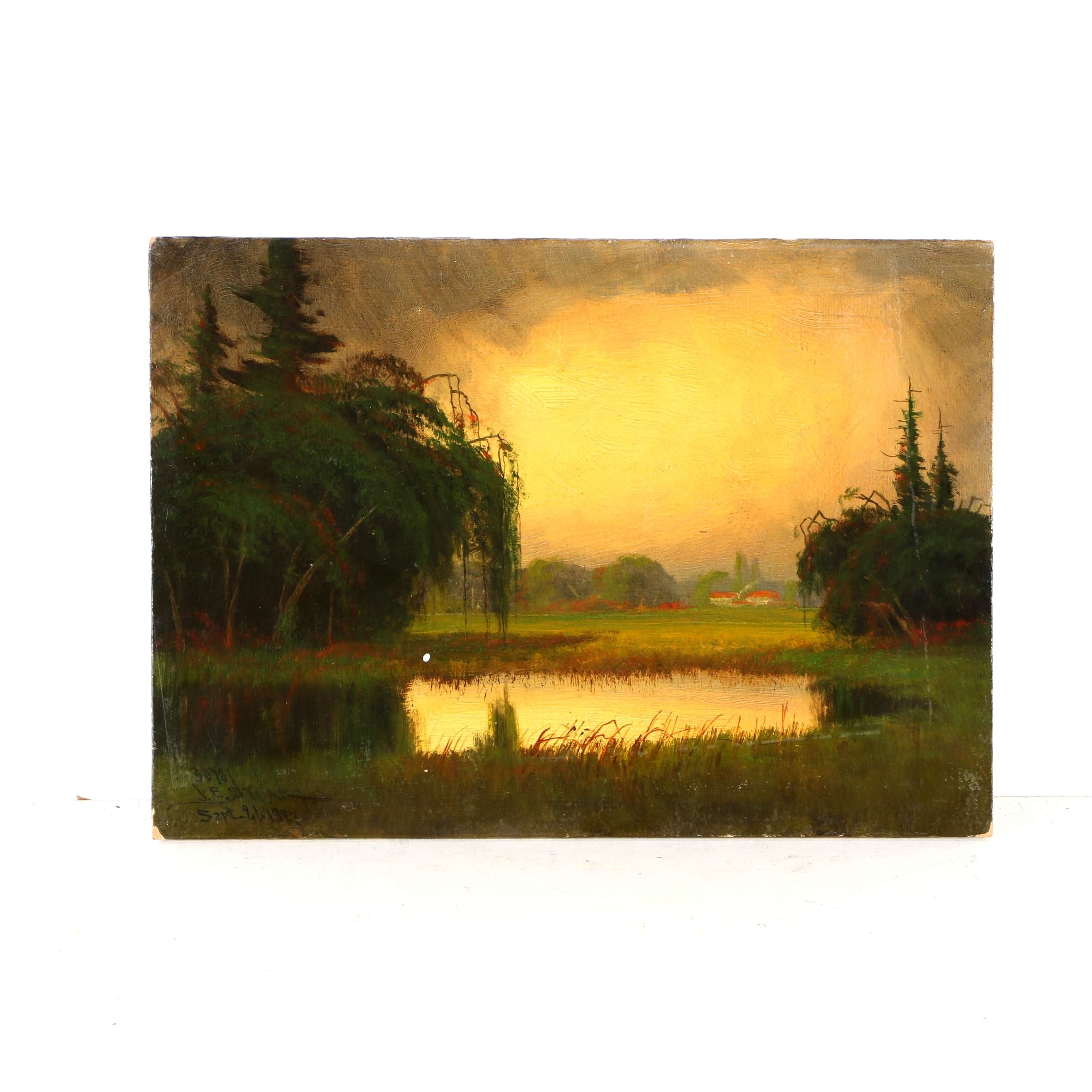 1923 James Everett Stuart Oil on Board of Landscape Near Courtland, CA