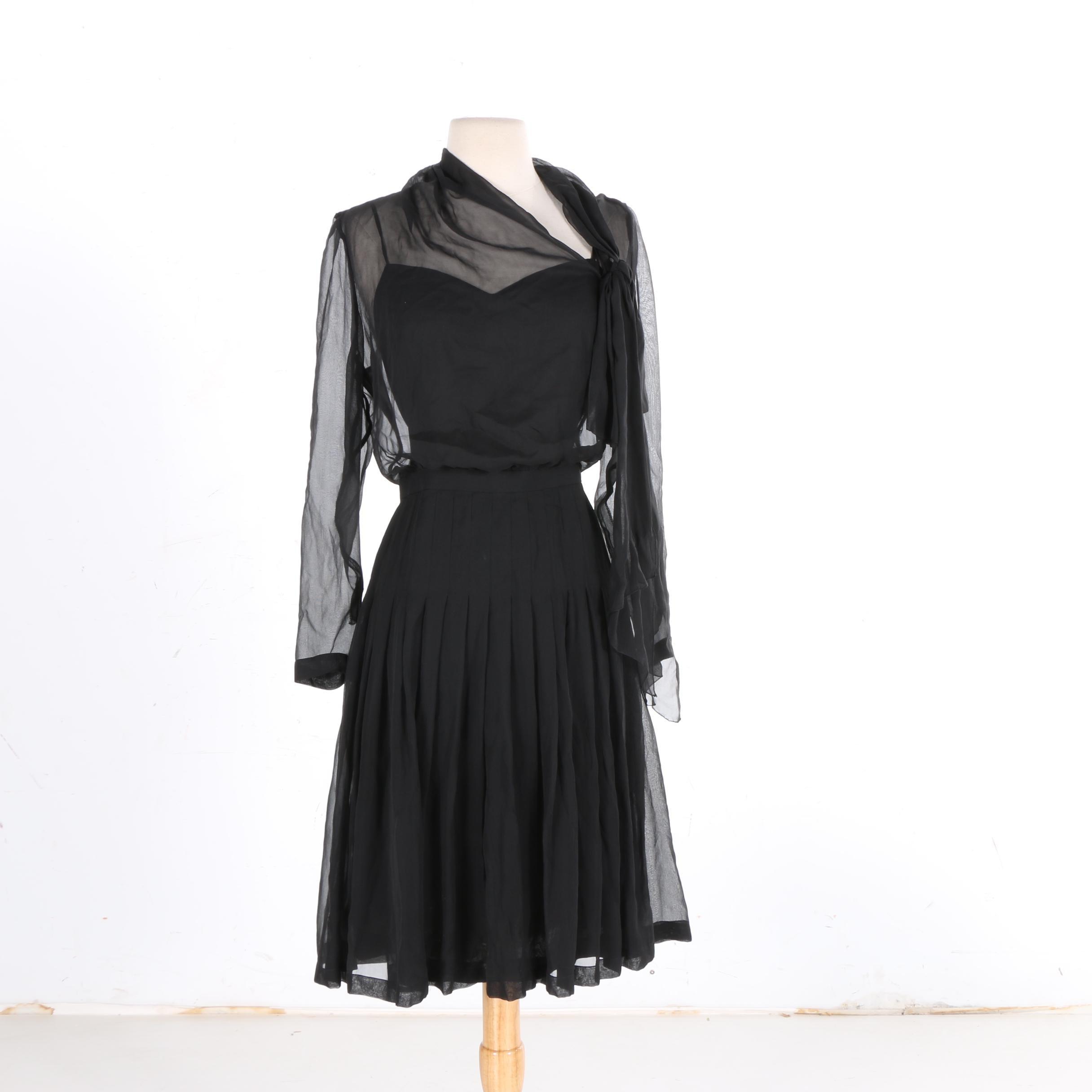 Chanel Boutique Black Silk Crepe Illusion Dress