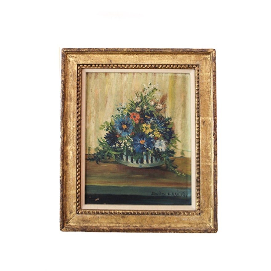 Leighton C. Hamilton Oil on Board Painting of a Floral Still Life