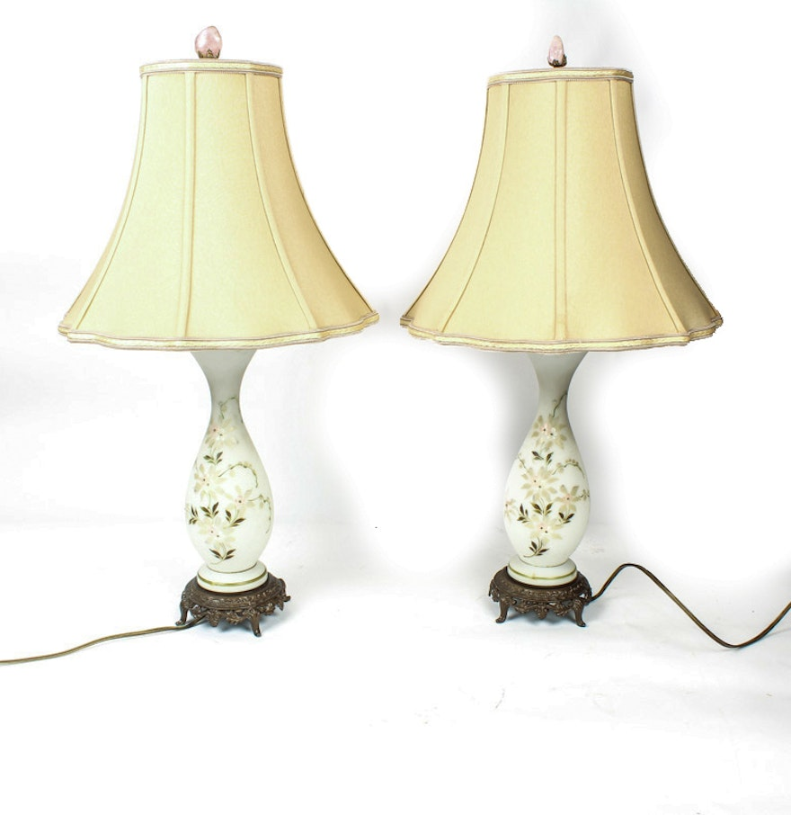 Pair of vintage hand painted milk glass table lamps ebth pair of vintage hand painted milk glass table lamps geotapseo Gallery