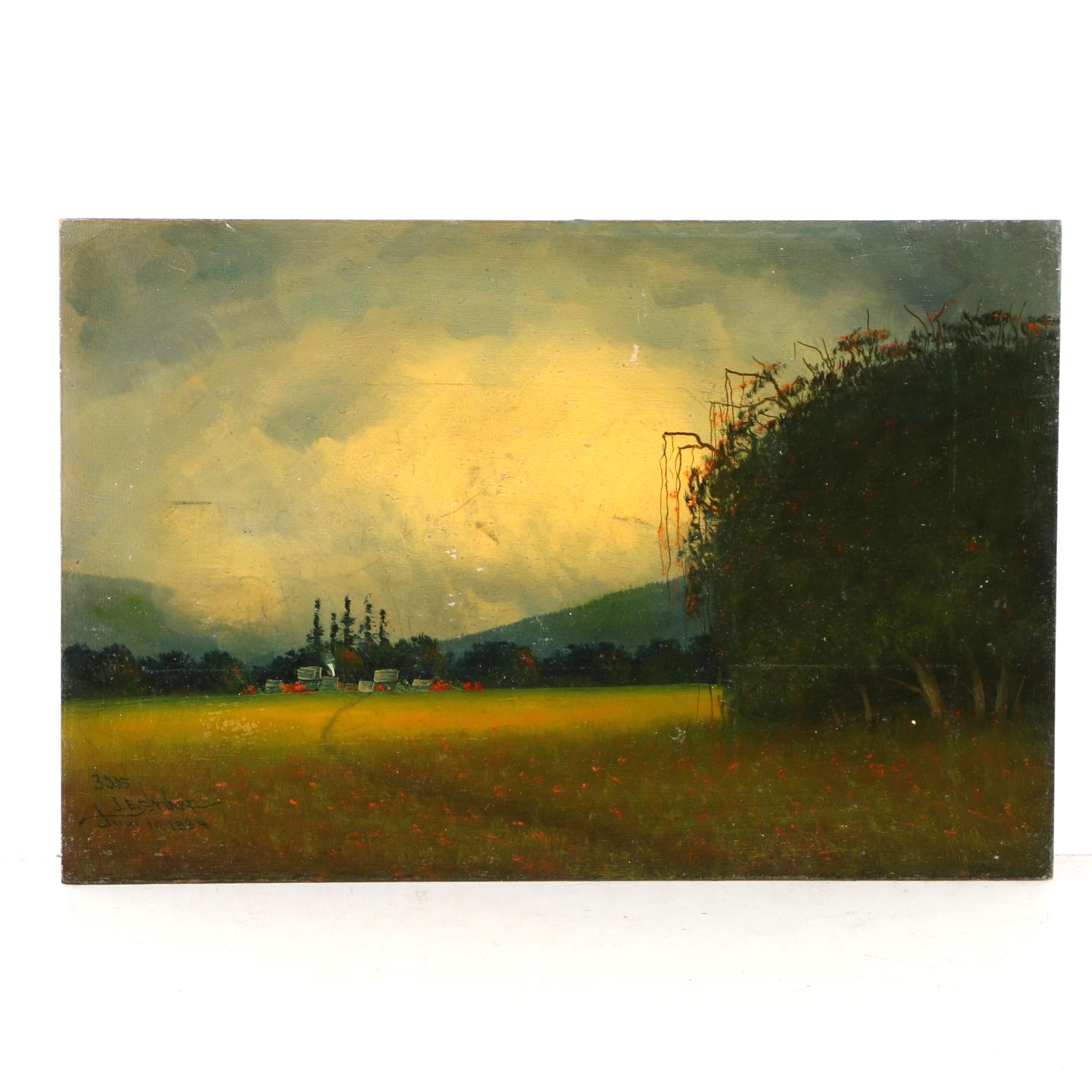 1934 James Everett Stuart Oil on Board of Landscape Near Salinas, CA