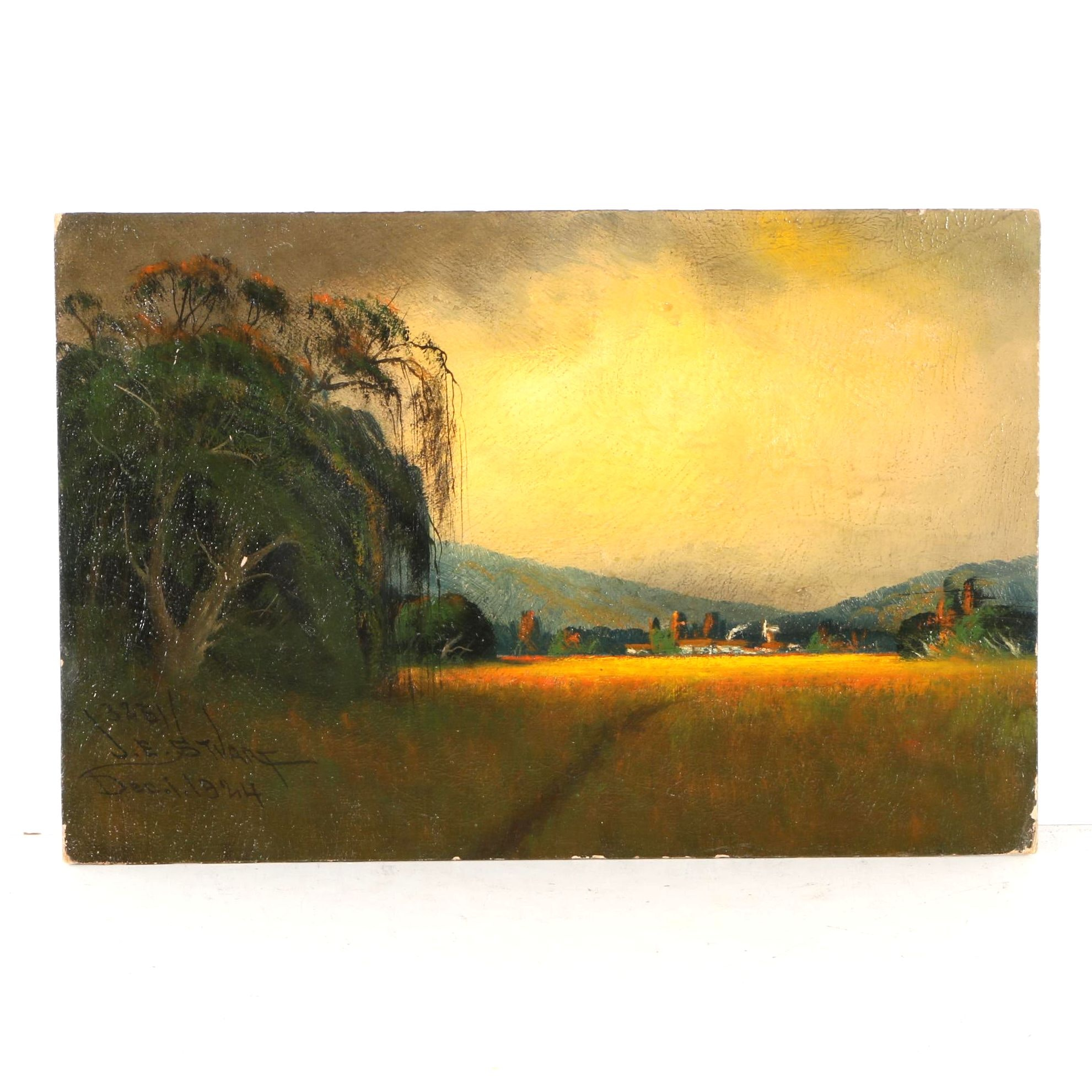 1924 James Everett Stuart Oil on Board of Landscape Near Napa Valley, CA