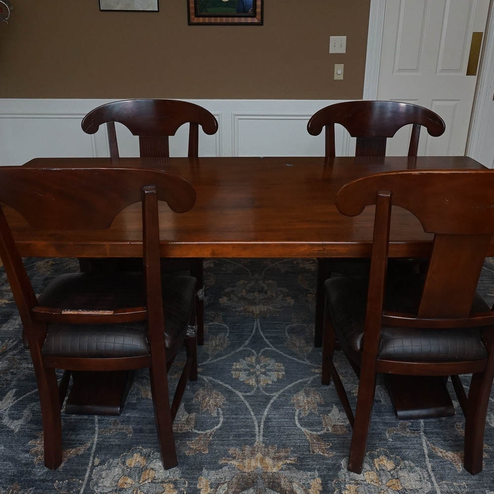 Trestle Base Dining Table With Chairs