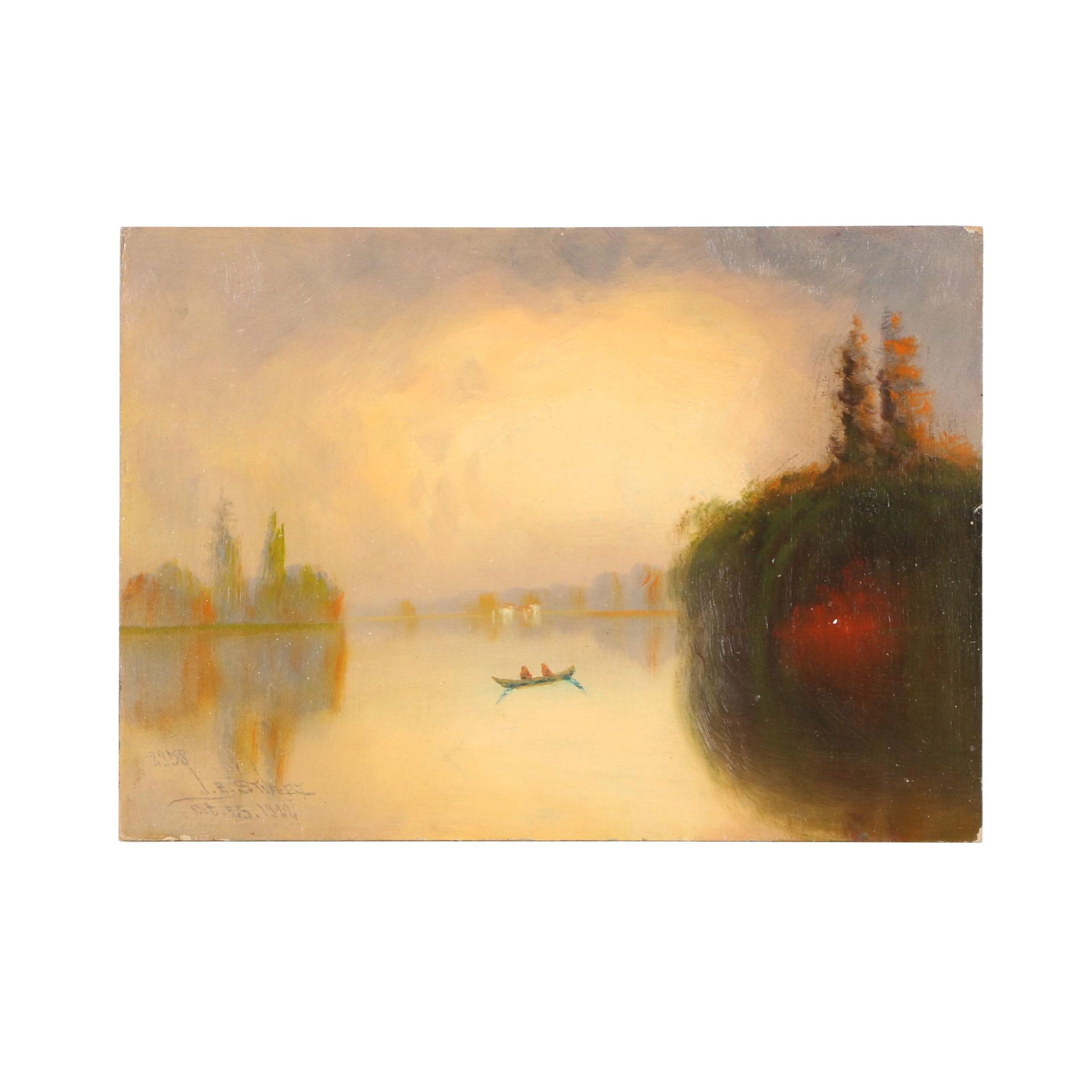 1922 James Everett Stuart Oil on Board of the Sacramento River