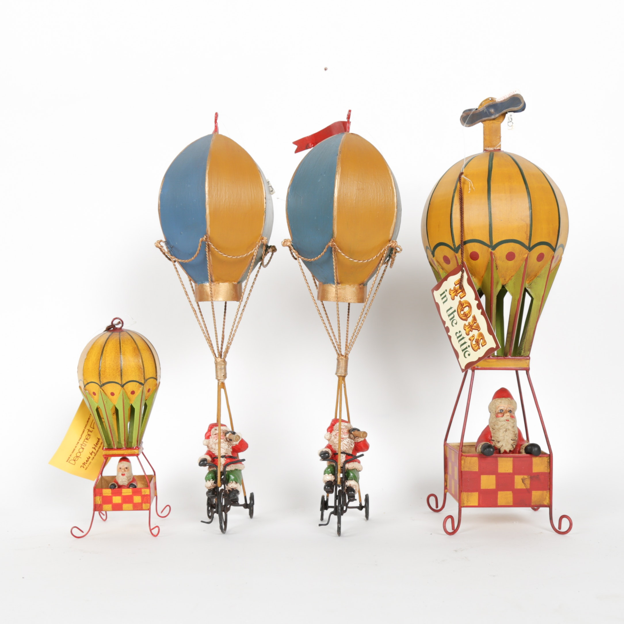 "Set of Toys in the Attic ""Santa in Hot Air Balloon"" Tin Figures by Department 56"
