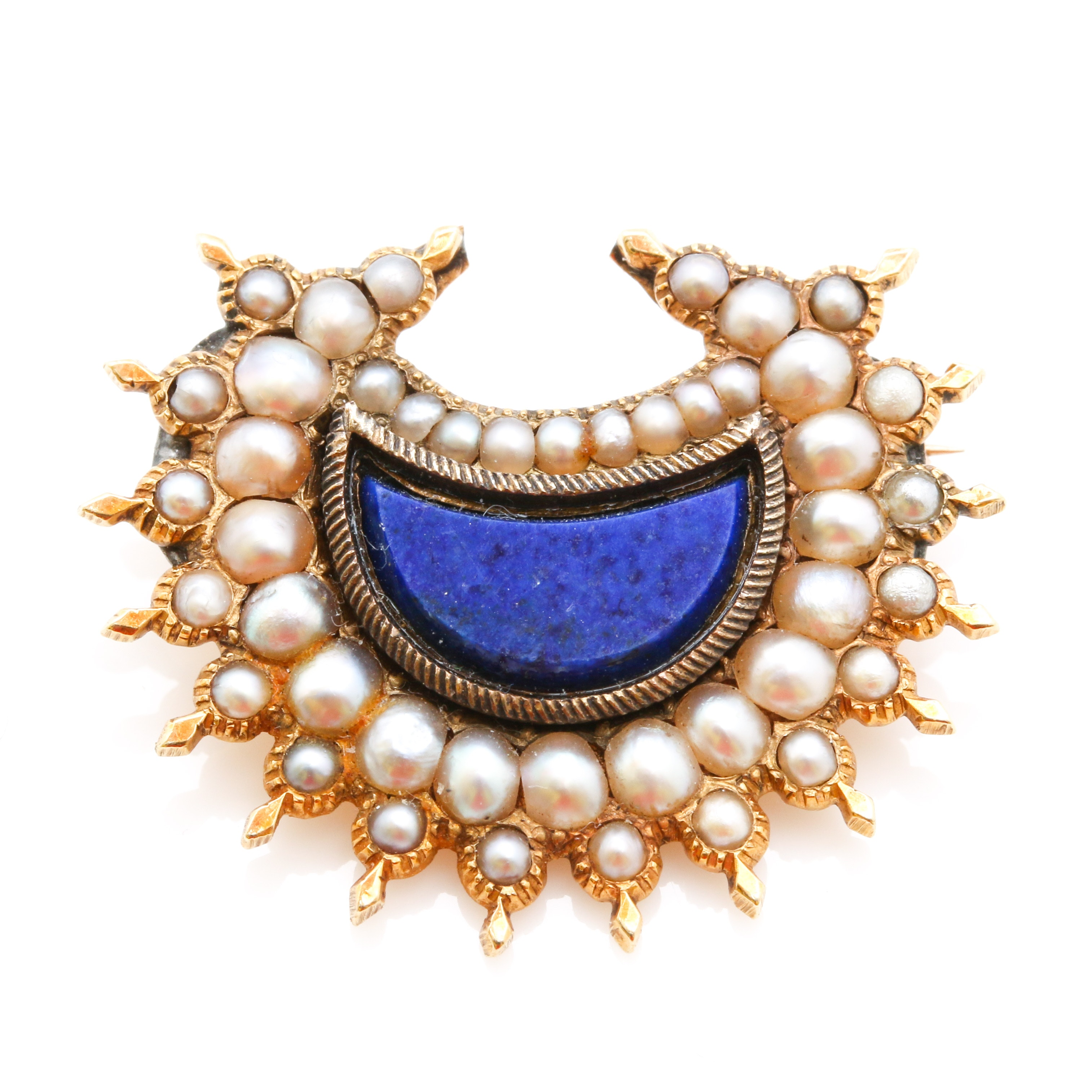 14K Yellow Gold Lapis Lazuli and Seed Pearl Brooch