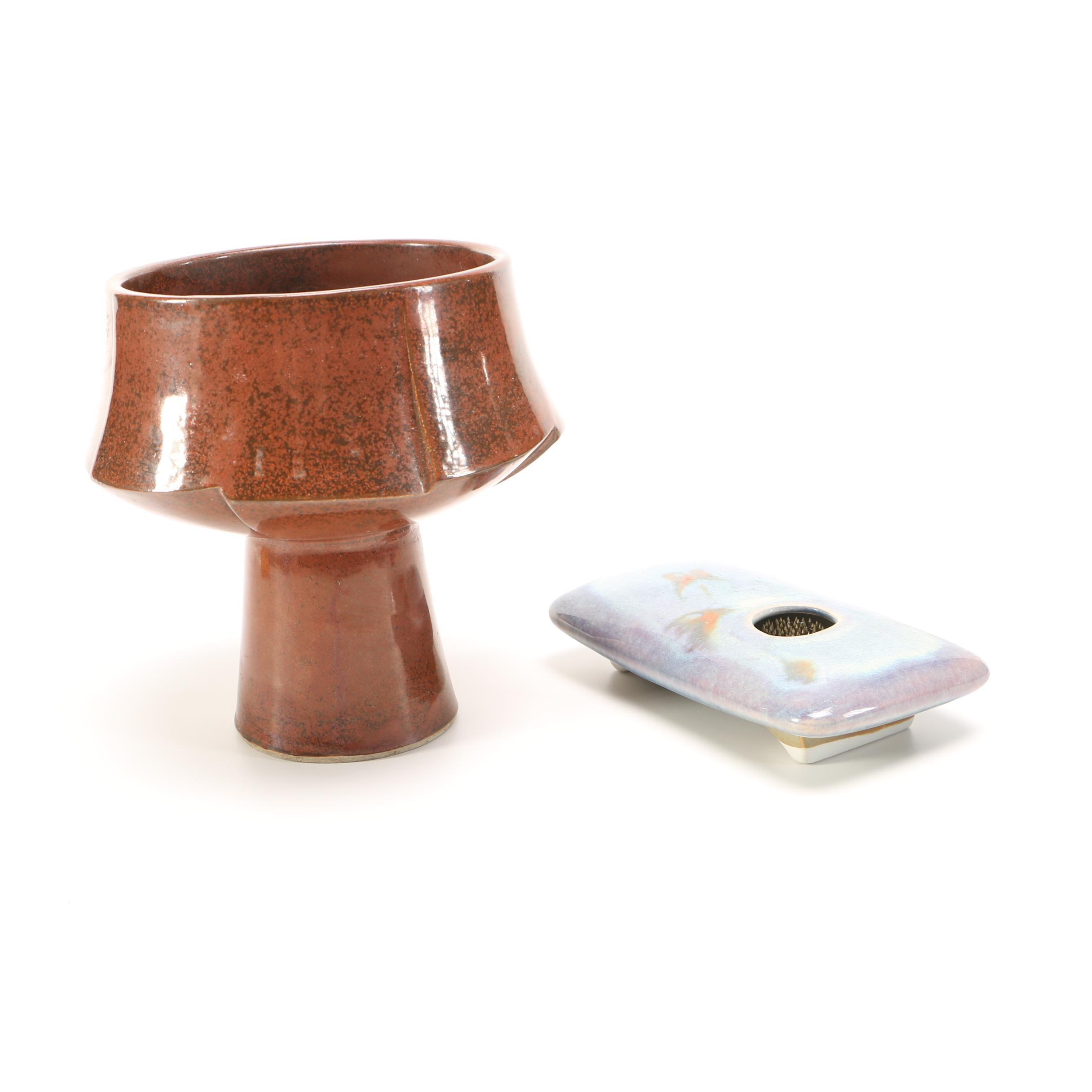 Handbuilt porcelain FLower Frog and Stoneware Vessel