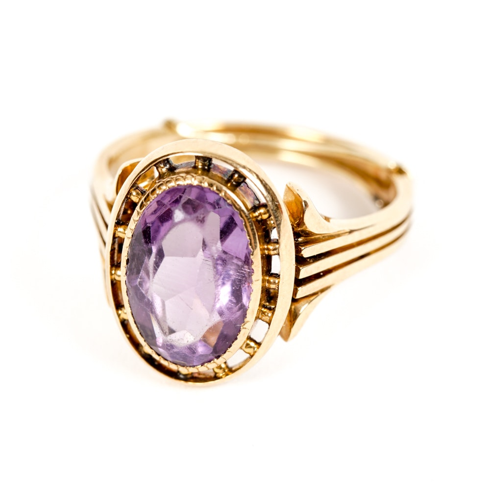 Amethyst Ring in 18K Yellow Gold
