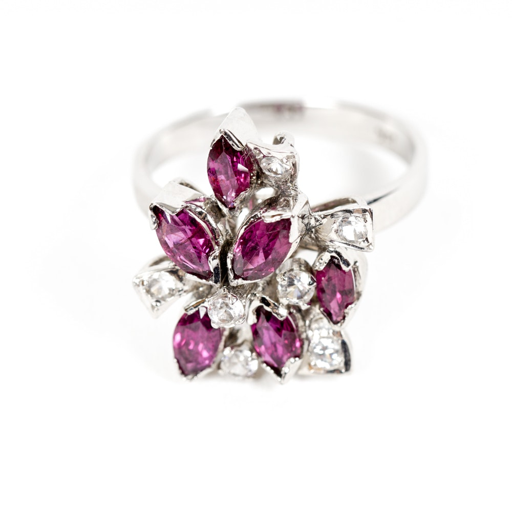 18K White Gold Ring with Purple Sapphires and White Spinel