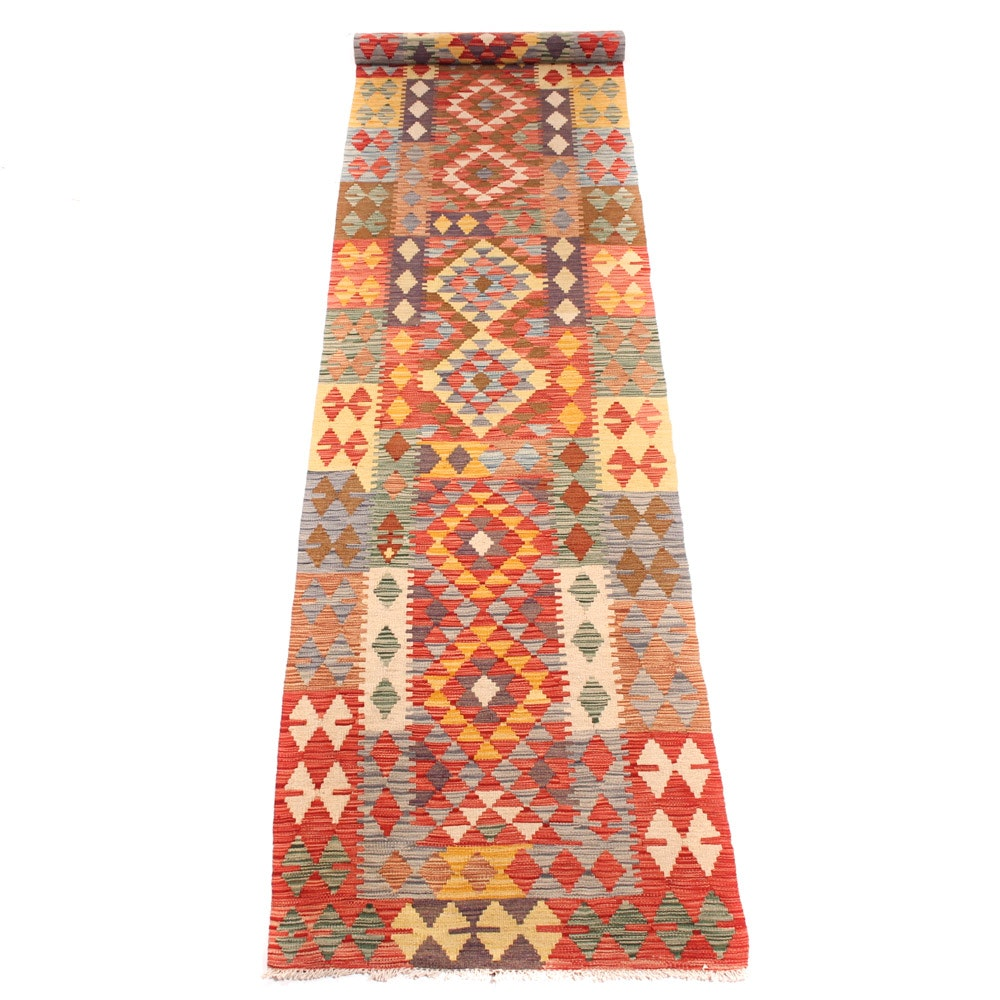 Hand-Knotted Turkish Kilim Carpet Runner