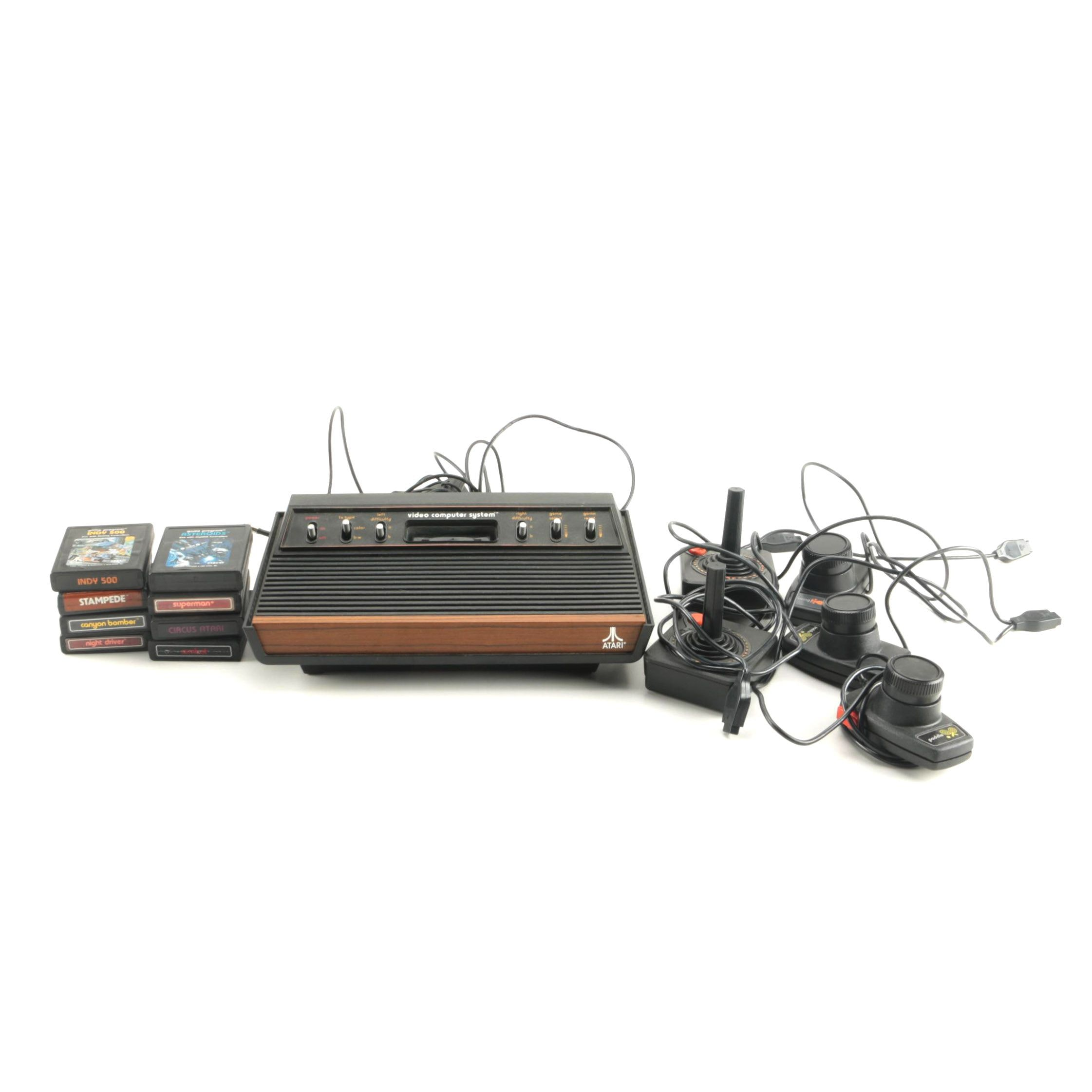 Atari 2600 Console with Games and Accessories