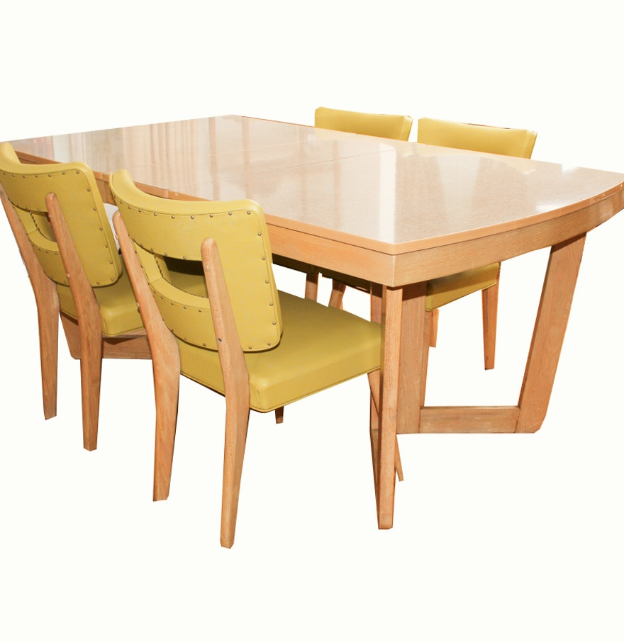 mid century modern blonde dining table and chairs by meier pohlmann ebth. Black Bedroom Furniture Sets. Home Design Ideas