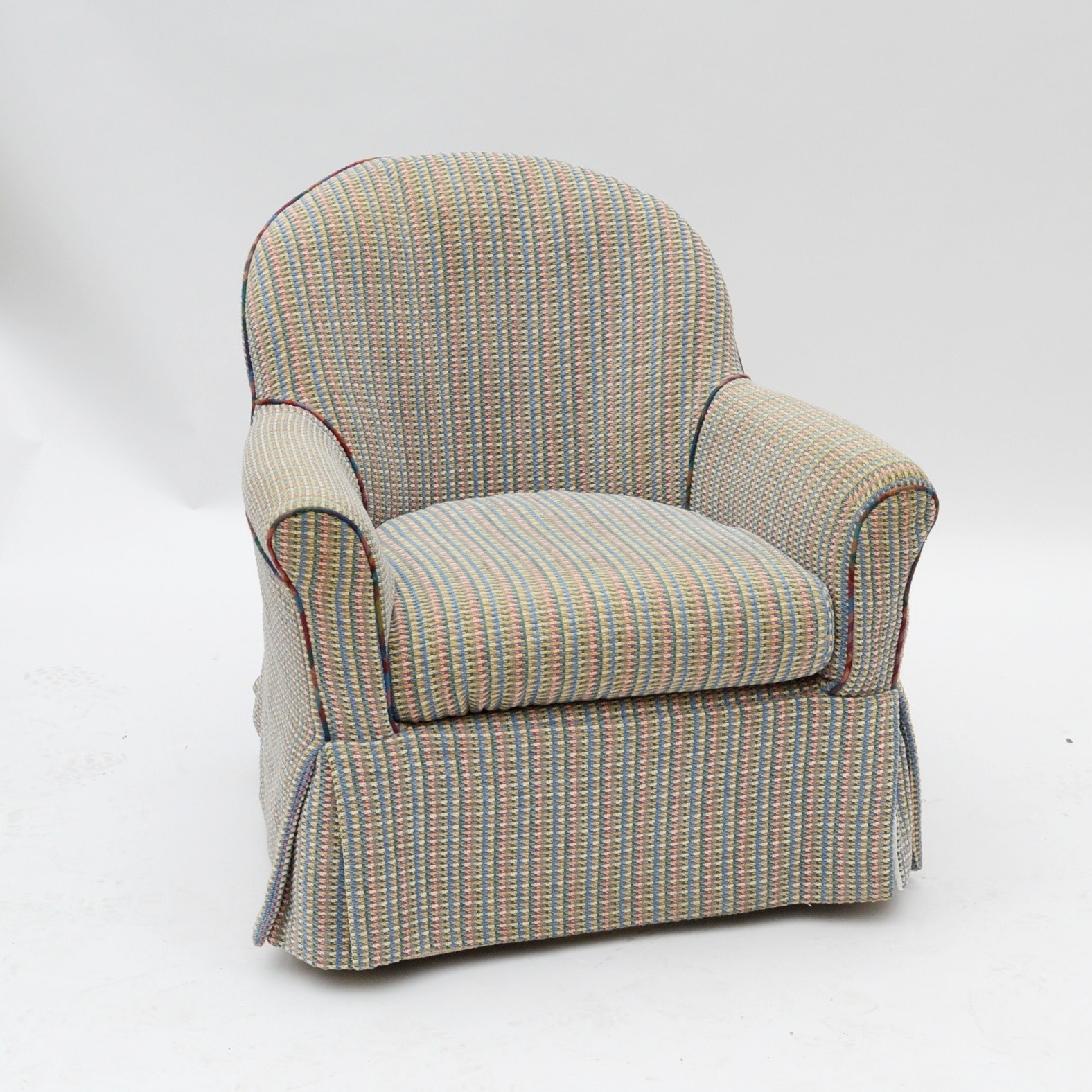 Vintage Slip-Covered Swivel Armchair