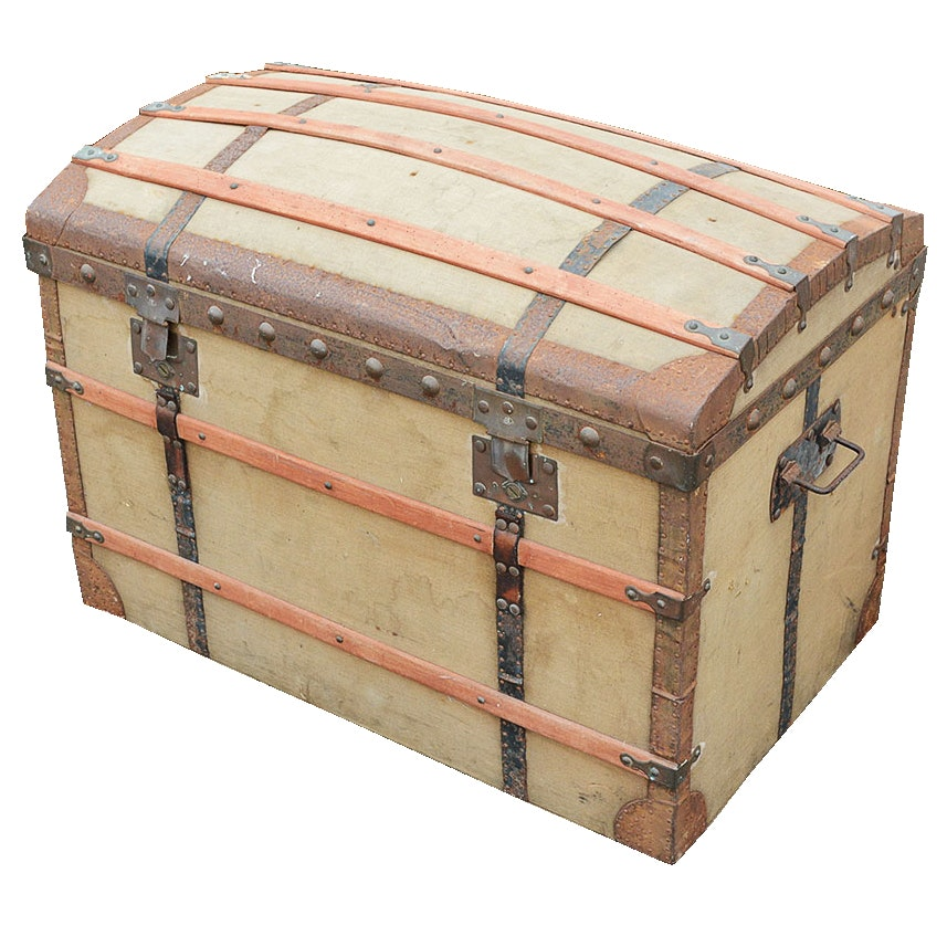 Vintage Canvas Wrapped Steamer Trunk