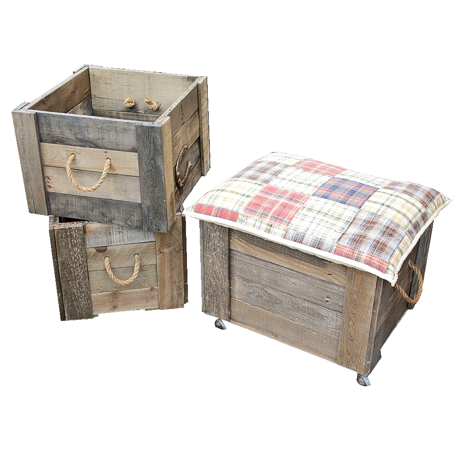 Rolling Storage Ottoman and Vintage Wooden Crates EBTH