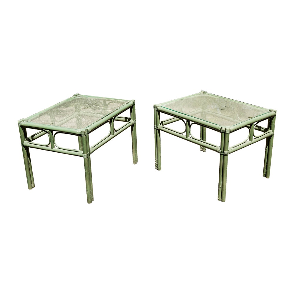 Green Faux Bamboo Tables