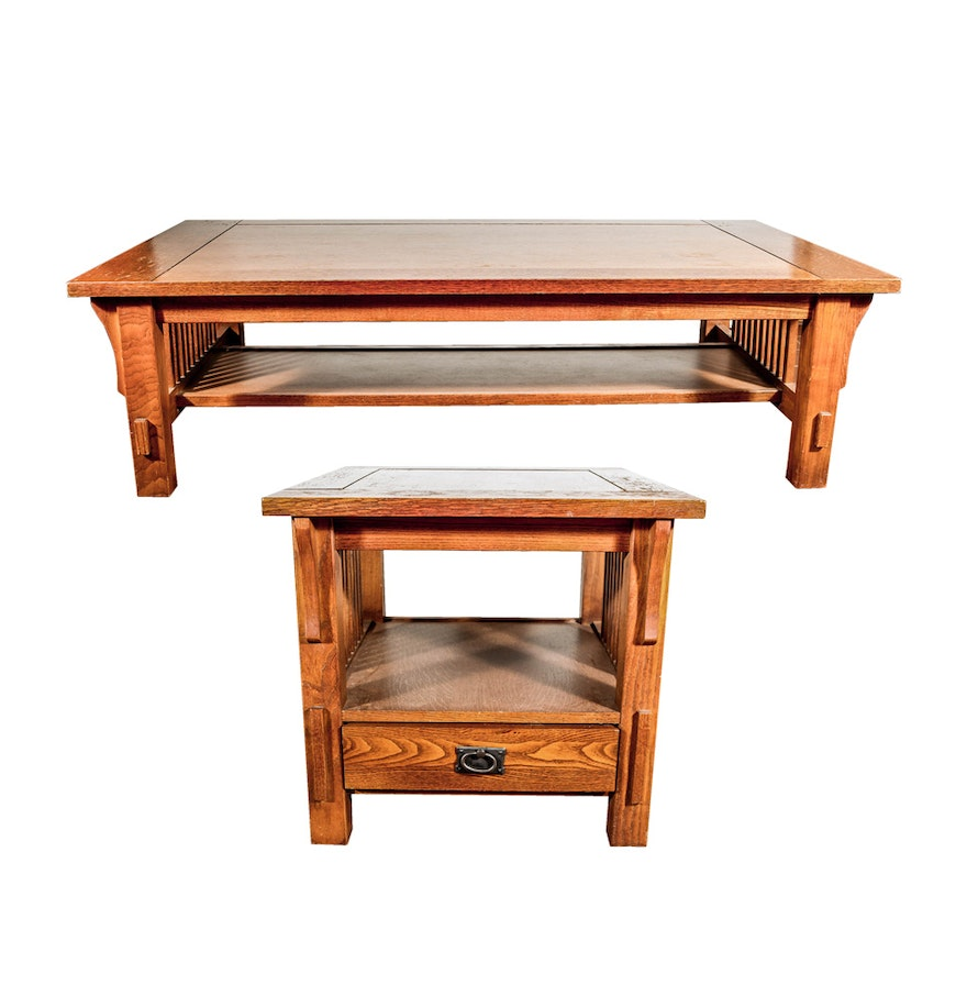 Mission style oak coffee table and end table by bassett ebth mission style oak coffee table and end table by bassett geotapseo Gallery