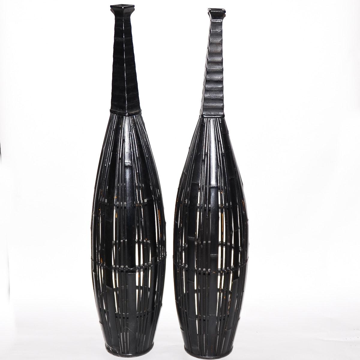 Pair of Split Bamboo Floor Vases