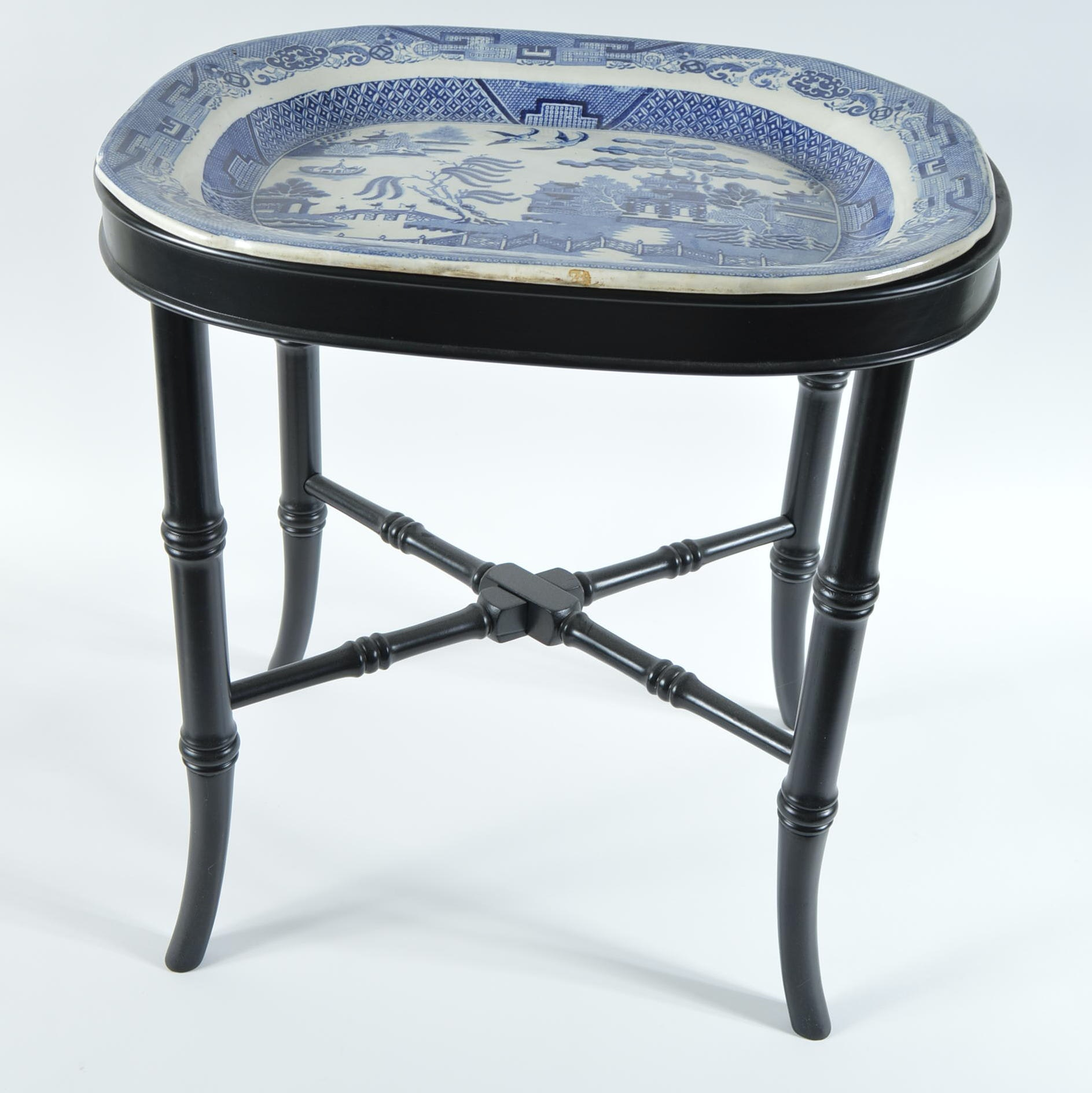 """Antique """"Blue Willow"""" Platter on The Bombay Company Base"""