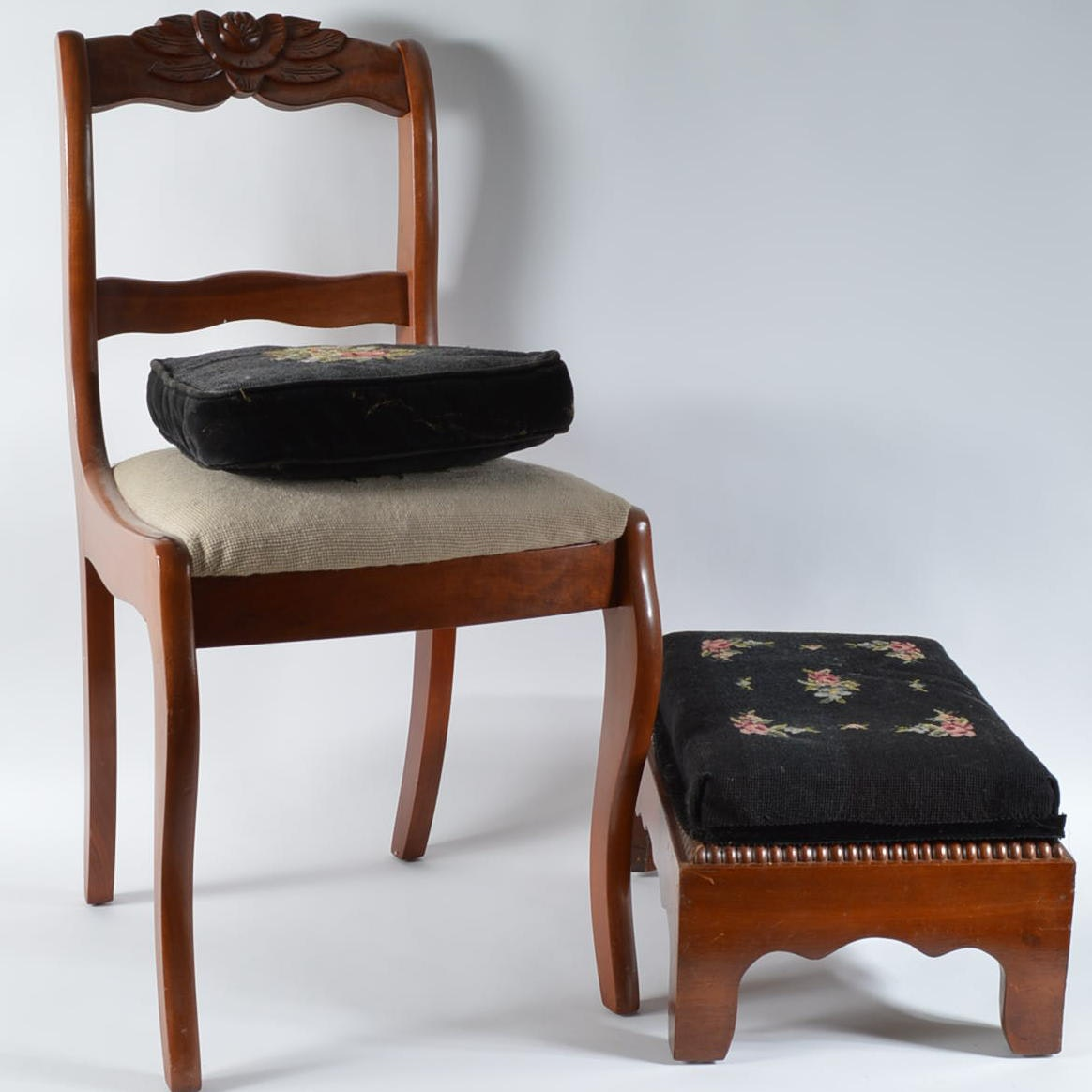 Chair, Footstool, and Pillow with Needlepoint Accents
