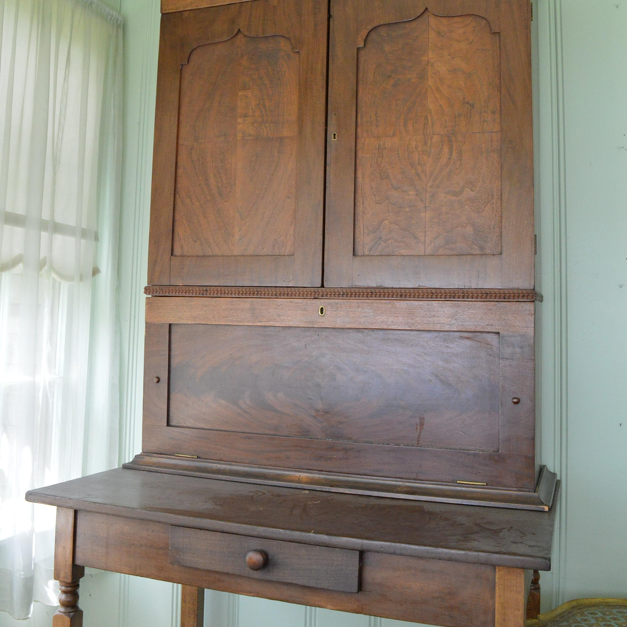 Antique Secrétaire Bookcase on Table