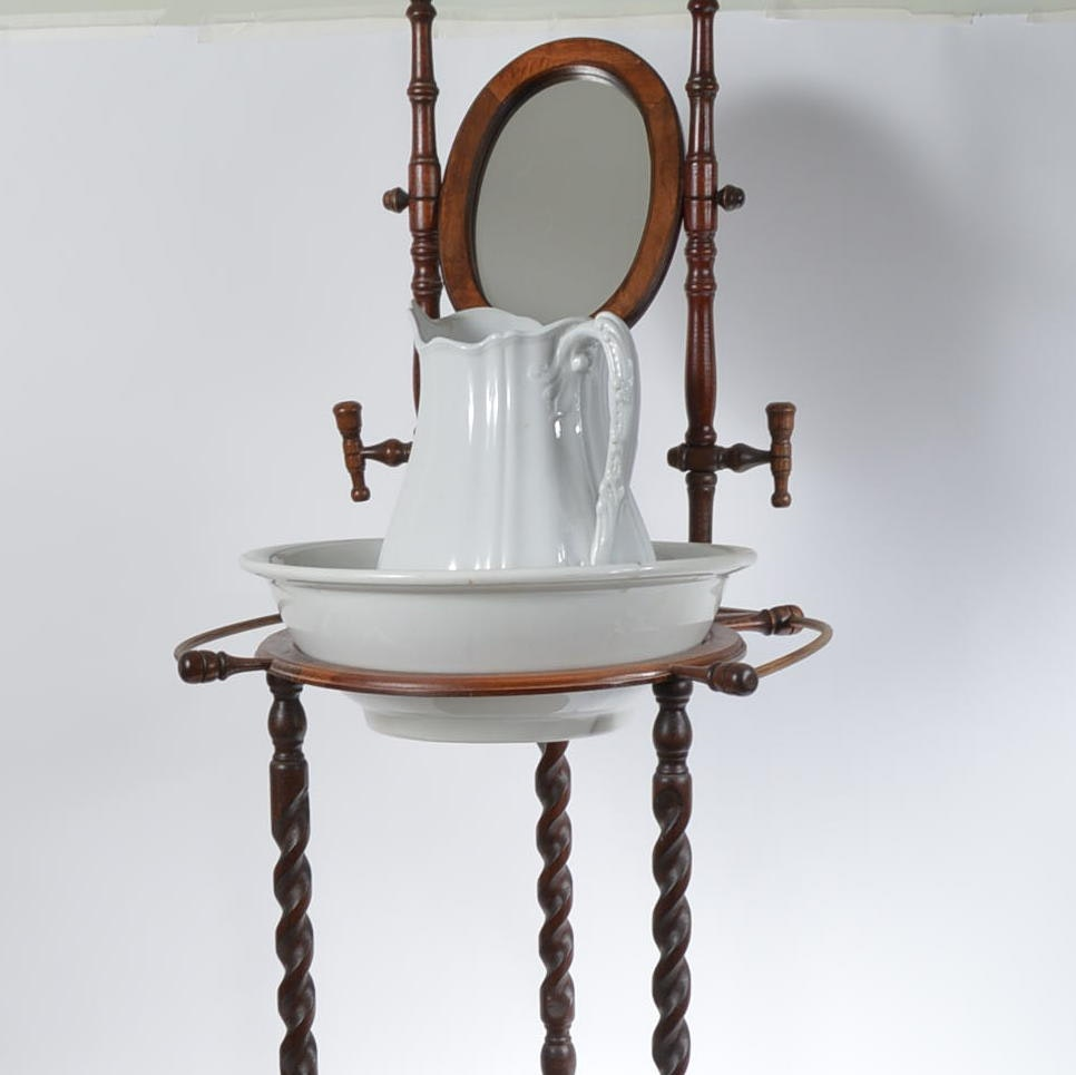 Small Washstand with J. & G Meakin Bowl and Pitcher