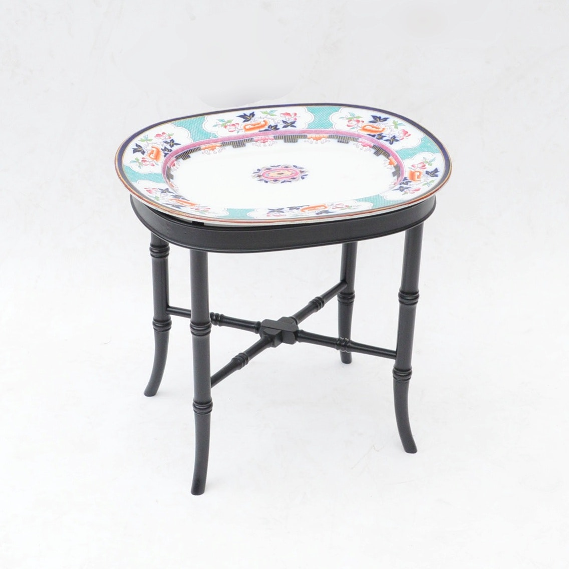 Antique Porcelain Platter on Later, Faux-Bamboo Stand