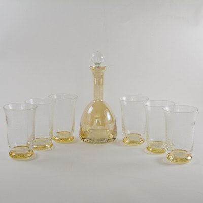 Art Glass Decanter and Bubble Glass Set