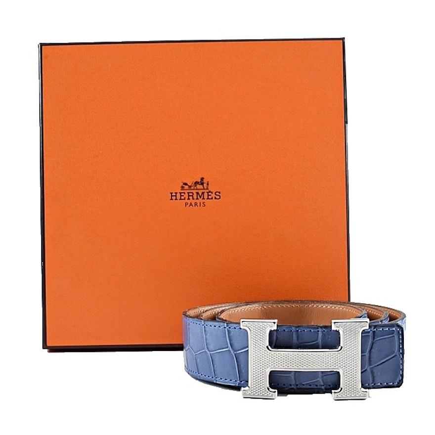 Hermès Constance Reversible Pale Blue Belt
