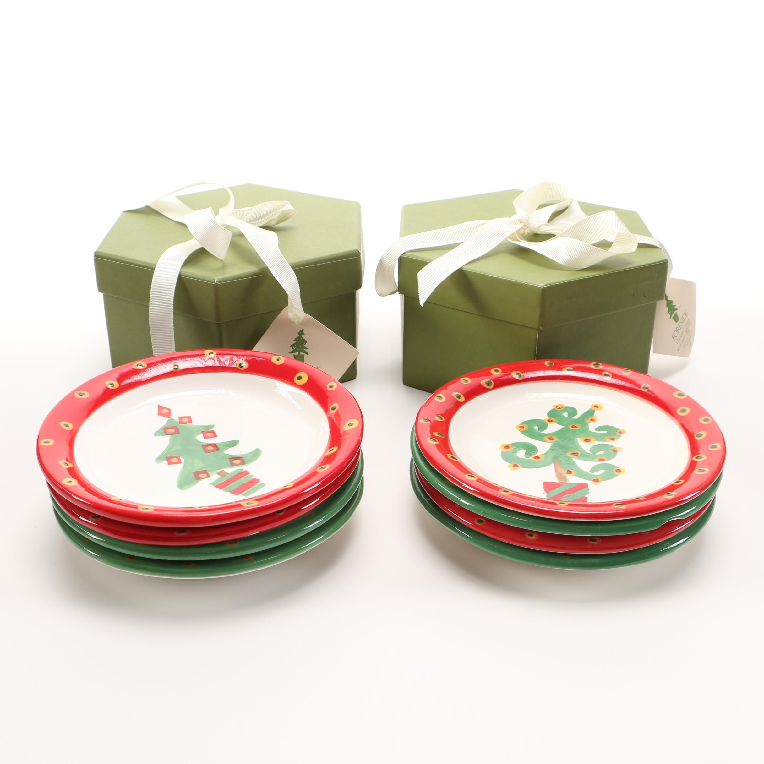 Foreside Christmas Cocktail Plates