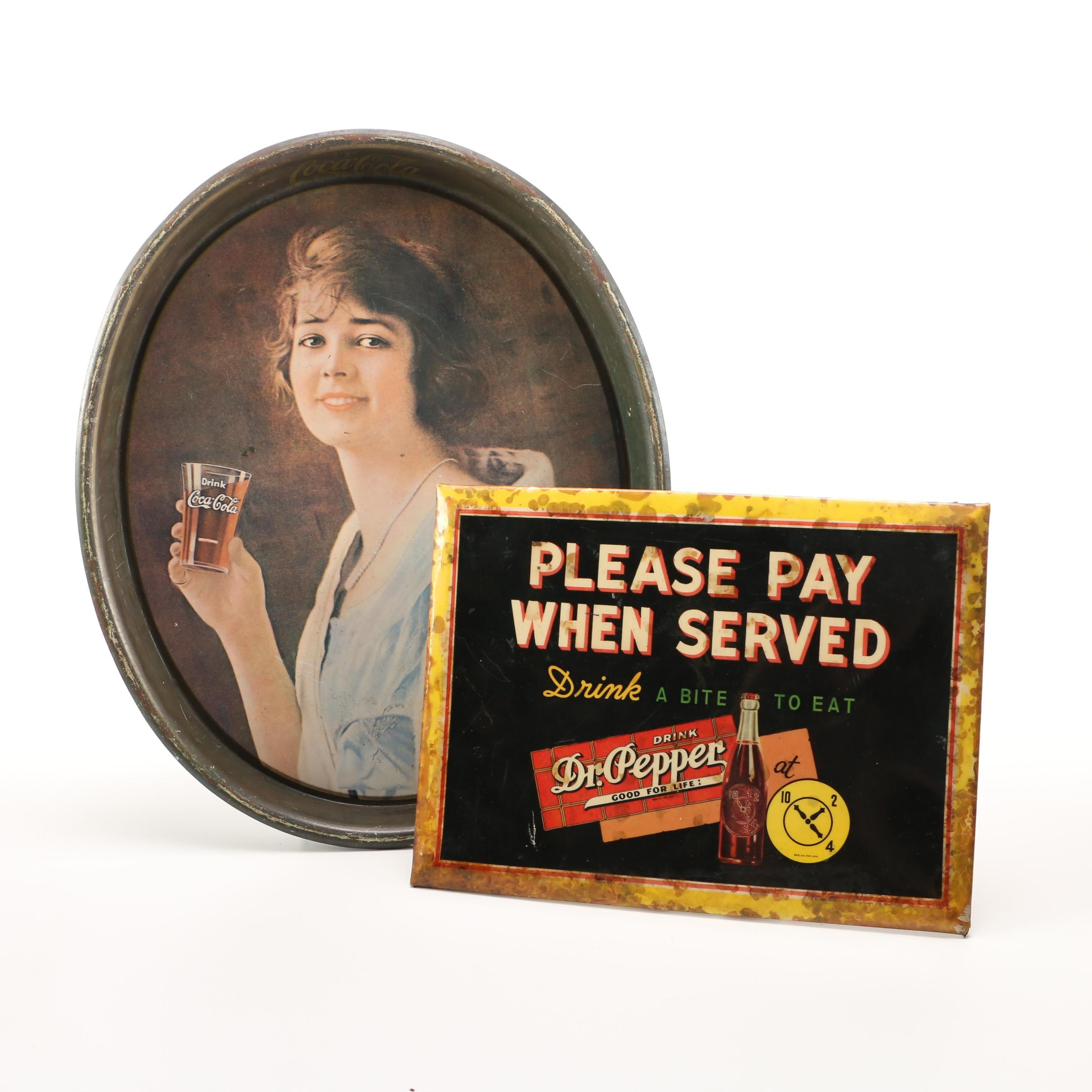 Metal Advertising Tray and Sign