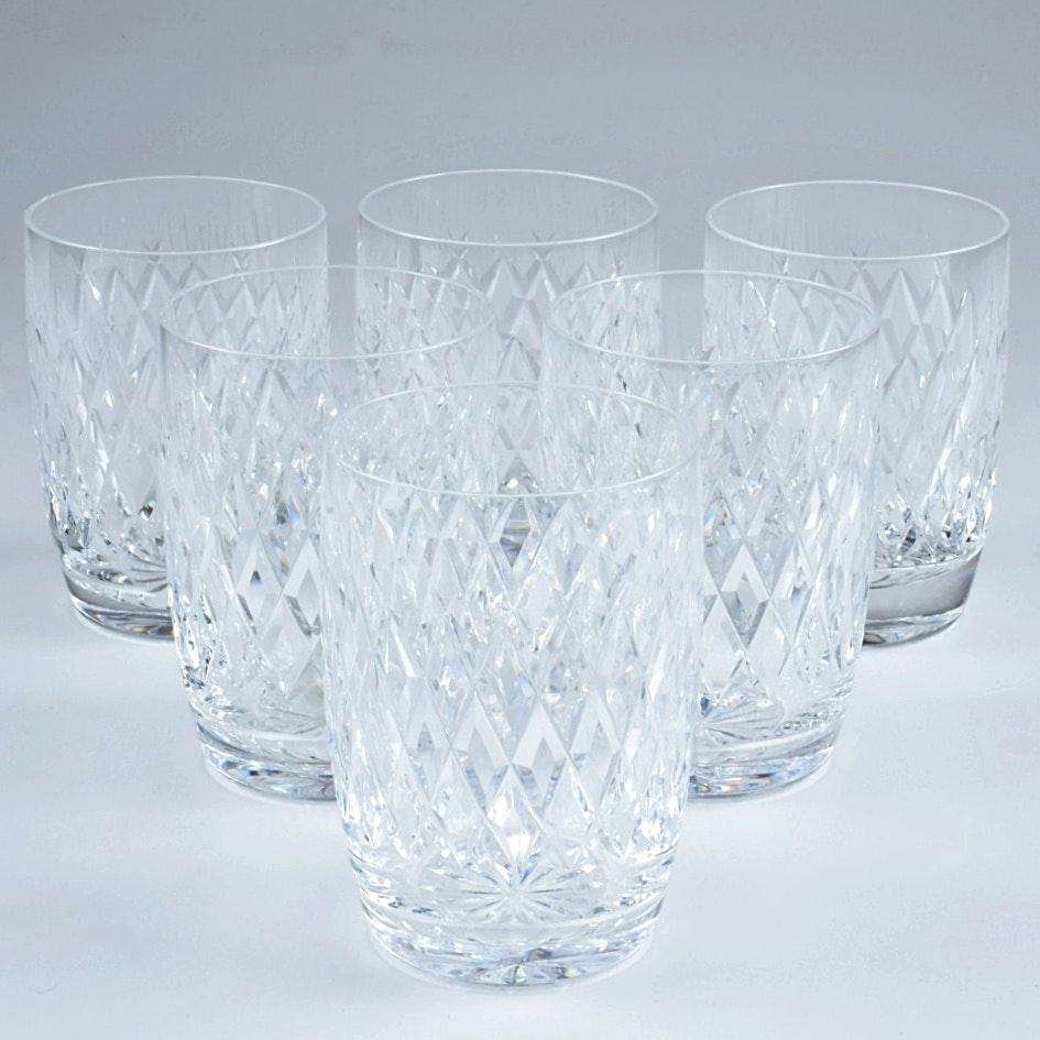 """Set Waterford Crystal """"Boyne"""" Cut Foot Tumblers"""