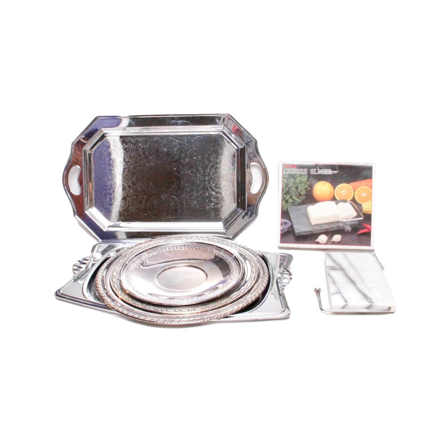 Silver Plated Serving Trays and Marble Cheese Slicer