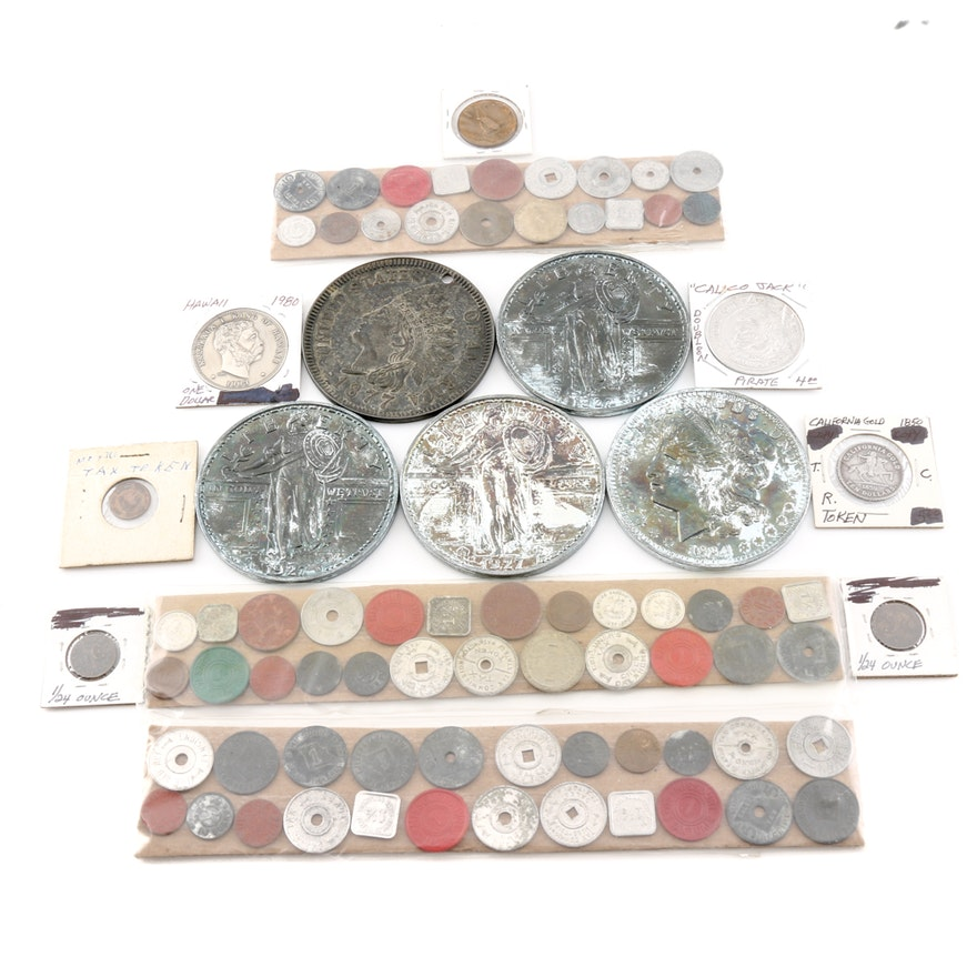 Large Group of over Fifty Tokens and Novelty Coins