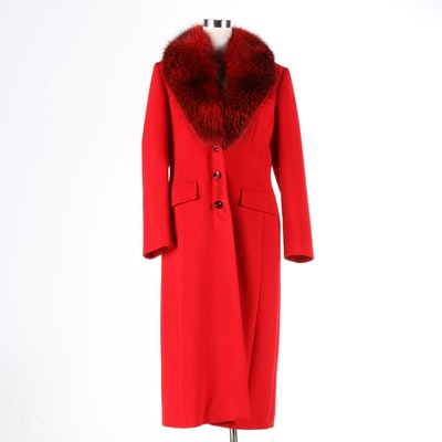 Piacenza for Escada Red Coat with Fox Fur Collar