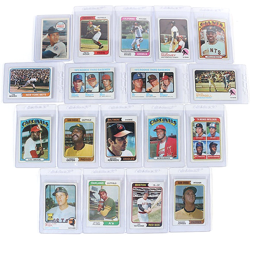 1970s Topps Baseball Cards Including Willie Mays, Nolan Ryan, and Willie McCovey