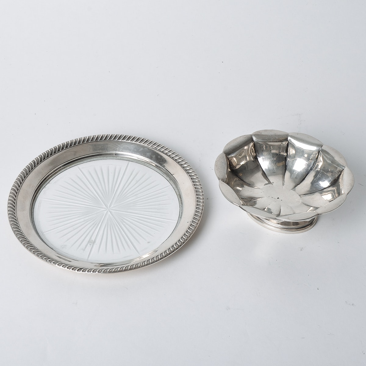 Sterling Silver Nut Dish and Wine Coaster