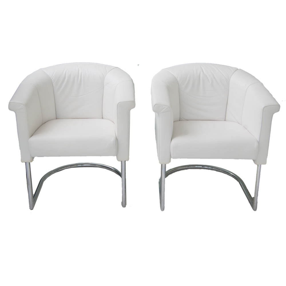 Two Modern White Leather Armchairs with Silver Toned Frames