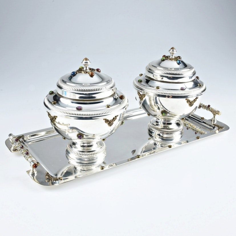 Pair of Silver Plate Caviar Bowls and Handled Tray