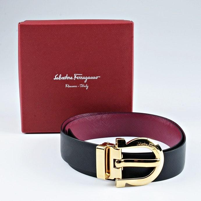 Ferragamo Reversible Black to Burgundy Saffiano Leather Belt