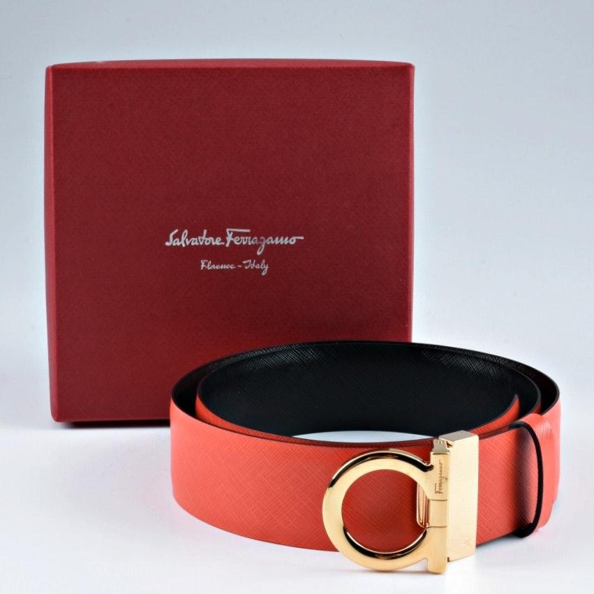 Salvatore Ferragamo Reversible Black to Red Saffiano Leather Belt