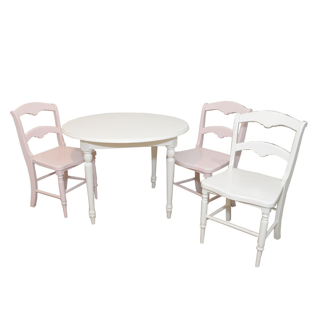 Wooden Children's Table in Cream with Three Chairs