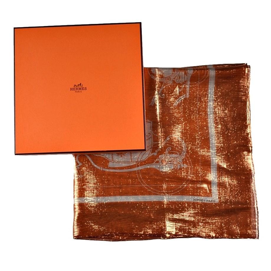 """Hermès """"Ex-Libris Glam"""" Scarf in Bronze"""
