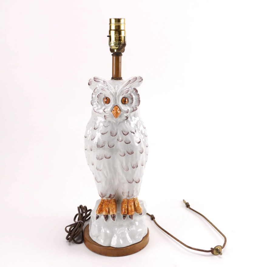 Vintage Italian Style Ceramic Owl Lamp Ebth