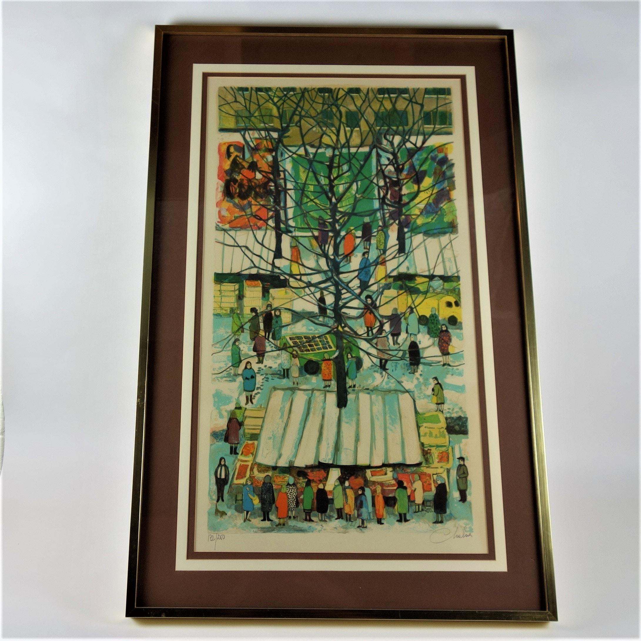 "Nathalie Chabrier Original Lithograph ""Market Place"""